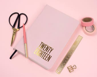 2018 - A5 -Pink and Gold foil Cover - Diary - Day to view - Calendar - New year - 2018 - Planner - Agenda