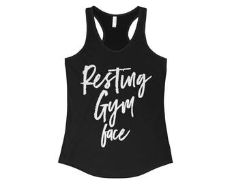 Resting Gym Face Tank Top, funny workout tank, gym shirt, yoga, funny shirt, workout shirt