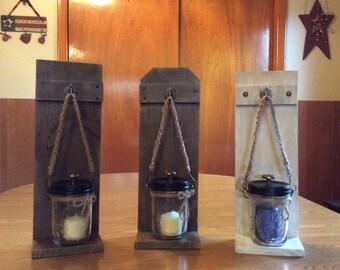 Primitive Rustic Mason Jar Lantern with Candle, Mason Jar, Weathered Wood