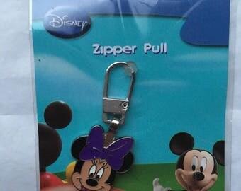 minnie mouse zipper pull, zip pull, disney,