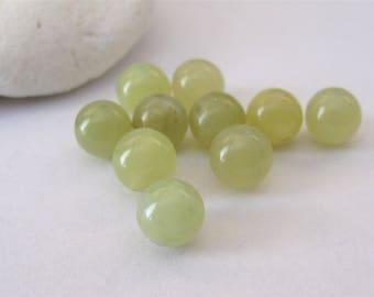 10 PCS - 8mm Green Jade Smooth Round Beads, Round Green Jade Gemstone Beads, Green Jade Round Beads, Natural Genuine Gemstone Bead(GNJL-054)