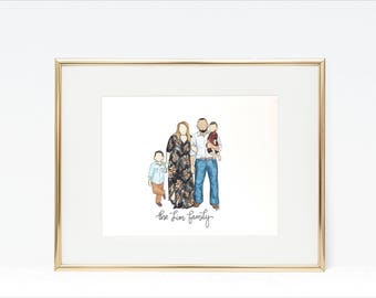 Custom Family Portrait, Faceless Portrait, Original Watercolor Family Painting, Wedding Gift, Original, Anniversary Gift