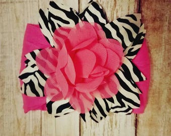 Pink zebra headband, nylon headband, baby headband, toddler headband, zebra, pink