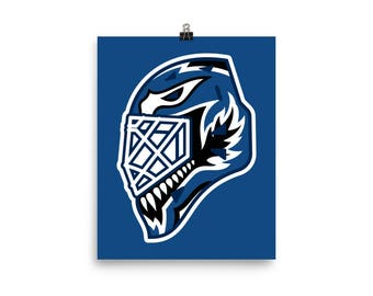 "Blue ""92"" Goalie Mask Poster"