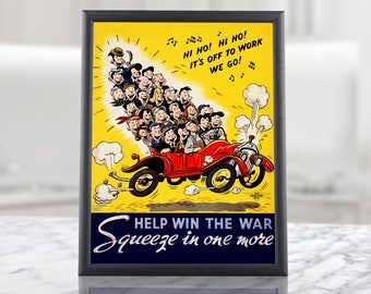 "WW2 Poster - ""Help Win The War"" - Funny Second World War American Propaganda, military wall art decor militaria kids room gift idea bathroom"