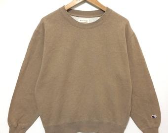 Vintage Champion Sweatshirt Pullover Brown Color Good Condition Rare!!