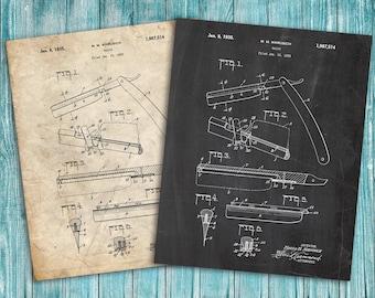 Straight Razor Patent Poster, Bathroom Decor, Shaving, Vintage Razor, Barber Gifts, Barbershop Decor, Razor Blueprint, Barber