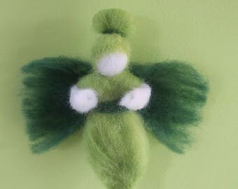 "Tinkerbell green """", carded wool, Waldorf Steiner"