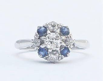 Vintage Diamond and Sapphire Cluster Ring