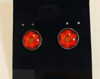 Psychedelic red target sign earrings