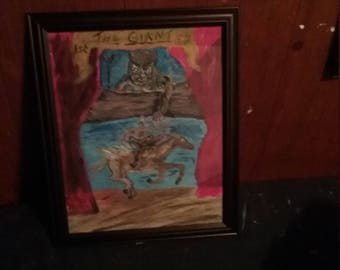 Horror painting of the giant,arcrilic,canvas board,mythology,Pegasus