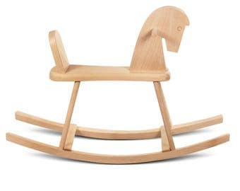 Rocking horse, wooden toys for baby craved by hand in natural wood