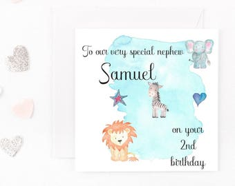 Personalised Boys Birthday Card, Safari Animal Baby Boys Birthday Card, Any Name, Age, Wording Son, Brother, Nephew, Grandson, 1st, 2nd, 3rd