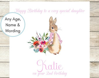 Personalised Birthday Card, Peter Rabbit Birthday Card, Baby Girl Birthday Card Beatrix Potter Card Daughter, Niece, Granddaughter, 1st Card