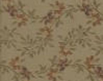 Drapery Fabric - Olive green with brown leaves