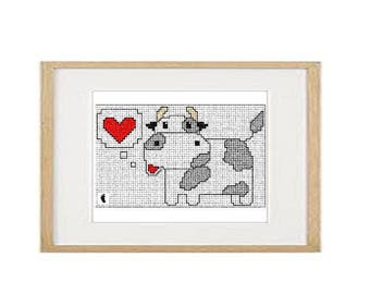Cow cross stitch pattern (download PDF)