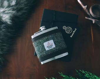 Harris Tweed Green Hip Flask Gift Boxed 6oz, Groomsmen Gift, Whiskey Flask, Fathers Day Gift