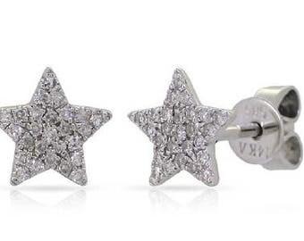 Star Stars Shaped Small Diamond Stud Earrings 14k Gold - 0.13 Ct.