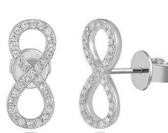 Infinity Crawlers Small Diamond Stud Earrings 14k Gold - 0.18 Ct.