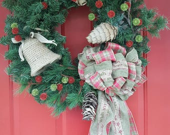 Country Christmas Wreath - Holiday Wreath - Christmas Wreath - For Front Door