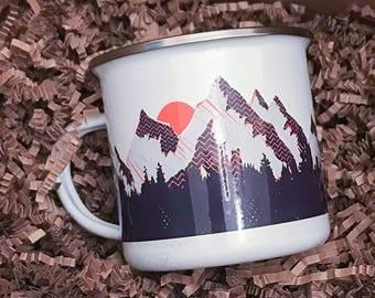 Custom Limited Edition Rustic Enamel Indoor / Outdoor Camping Coffee or Tea Mug