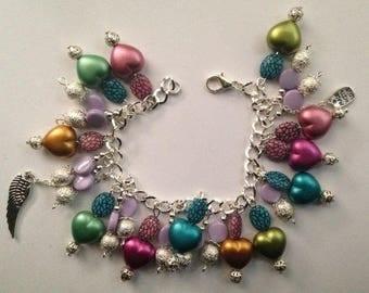 Coloured plastic beaded bracelet