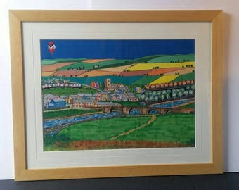 Handmade Limited Edition mixed-media print of The Packhorse Bridge, Burnsall, Yorkshire in natural wood effect frame