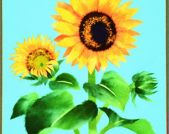 "Chigiri-e Japanese Washi Paper Collage DIY Art Kit ""Sunflower"""