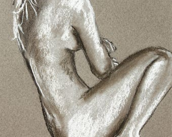 Naked woman sitting in pastel, original, signed by the artist, female nude drawing, nude art