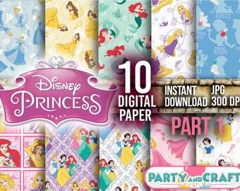Disney Princess Part 1 Digital Paper. Instant Download - Scrapbooking Disney Princess Printable Paper Craft Cinderella Rapunzel Belle Ariel