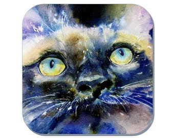 Bright Eyes - Cat Coaster, Pet Coaster (Corked Back). From an original Sheila Gill Watercolour Painting