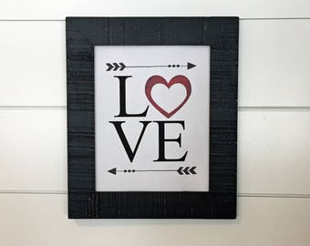 Love Sign Printable, Love with Heart, Love, Valentine's Day sign, Valentine's Day Decor, Love with Arrows