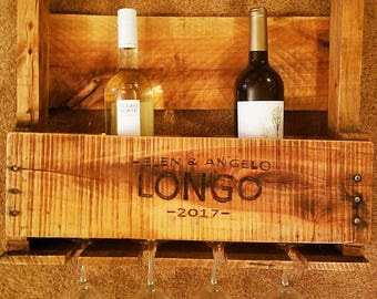 Personalized Handcrafted Pallet Wine Rack