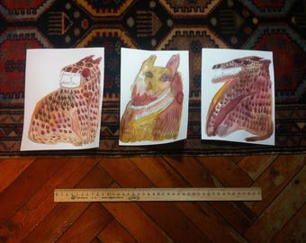 dogs\wolfs\animals trio original painting 3 set watercolour