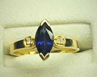 14 Karat Yellow Gold Blue Sapphire & Diamond Ring
