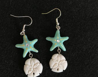 Starfish and Sand Dollar Polymer Clay Earrings