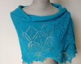 "Summer Scarf-Beach scarf-lace hand garments with diamond pattern-alpaca/silk-150cm/50cm-Turquoise ""-choice of 14 colours"