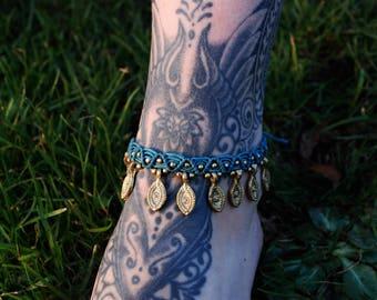 Macrame Anklet Blue