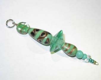 Green glass beads: key ring, bag pendant, earring