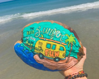 Custom Painted Coconut for a Soul Surfer