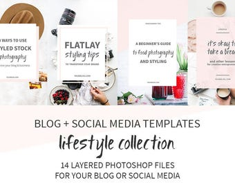 Lifestyle Blog Post and Social Media Image Templates / Photoshop Templates