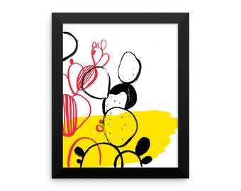 Yellow cactus Framed poster