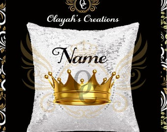 Crown Sequins Pillow- Personalized Pillow- Personalized
