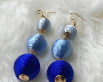 Blue bobble drop earrings