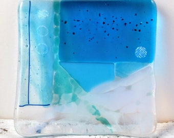 Small glass plate, handmade, kiln formed, inspired by the sea