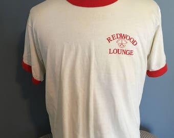Vintage Redwood Lounge 1980s Ringer tee tshirt / 80s clothing / ringer tees / hipster tshirt XL