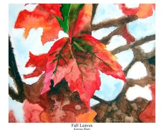 Watercolor Print of Fall Leaves