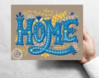"Home ""blue"", 7""x9"" Metal Wreath Signs W#3B"