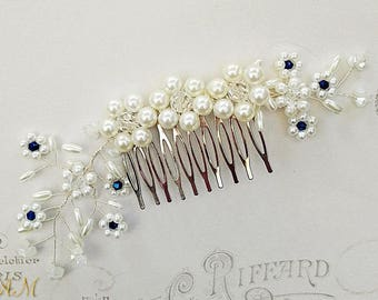 Blue Hair Comb, Sapphire Hair Comb, Blue Bridal Comb, Bridal Hair Comb, Pearl Hair Comb, Wedding Hair Comb, Bridal Accessories