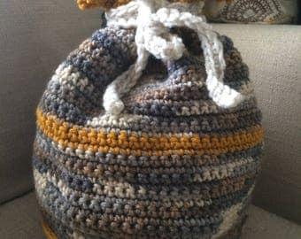 Handmade crochet gift bag